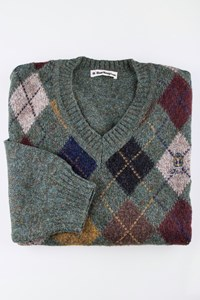 Burlington Grey - Green Wool Knit with Argyle Pattern / Size: 52 - Fit: XL