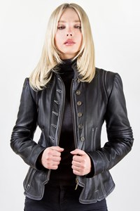 No Brand Victorian-Style Black Leather Jacket / Size: ? - Fit: S