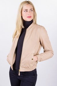 Massimo Dutti Beige Leather Jacket with Elasticated Trim / Size: M - Fit: S