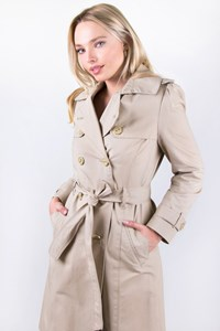 Juicy Couture Beige Midi Twill Trench Coat / Size: M - Fit: XS / S