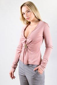 Roberto Cavalli Dusty Pink Blouse with Metallic Pin / Size: 40 IT - Fit: S