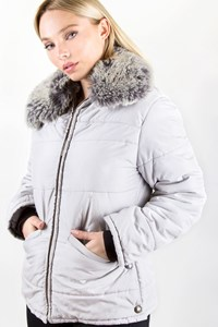 Iceberg Light Grey Puffer Jacket with Adjustable Fur / Size: M - Fit: S
