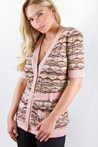 Missoni Multicoloured Crochet Cardigan with belt / Size: 44 IT - Fit: S / M