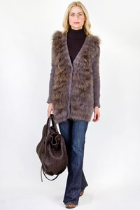 Eryn Brinie Ash Grey Wool Knitted Cardigan with Racoon Fur / Size: M - Fit: True to size