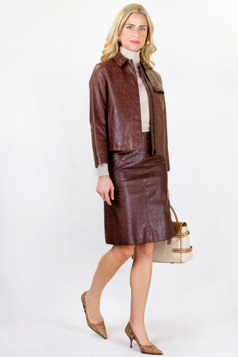 Tan Leather Skirt and Jacket Set / Size: 42 IT - Fit: S ...