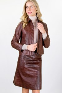 Ruffo Tan Leather Skirt and Jacket Set / Size: 42 IT - Fit: S