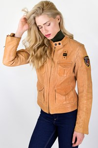 Blauer Tan Leather Jacket / Size: XL - Fit: S
