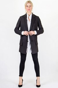 Yves Saint Laurent Grey Striped Wool Jacket / Size: 36 FR - Fit: S