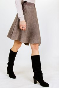Stefanel Brown-Beige Asymmetric Knitted Skirt / Size: M - Fit: S