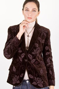 Chloé Brown Cotton Textured Velvet Blazer / Size: 38 FR - Fit: S
