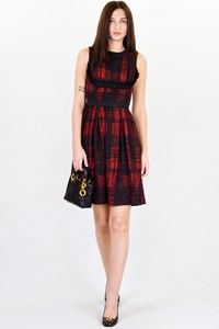 Prada Red-Black Ruffled Dress / Size: 38 - Fit: S