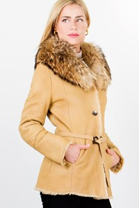 Lucchese Pelle Shearling Jacket with Fur Collar / Size: 42 IT - Fit: S / M