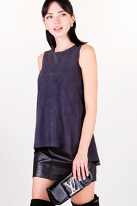 Schatzi Anthracite Grey Sleeveless Suede Blouse / Size: S - Fit: True to size