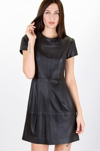 Massimo Dutti Black Short-Sleeved Leather Dress / Size: M - Fit: S