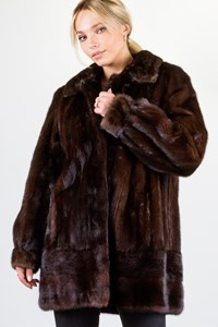 Fur Dark Brown Mink Fur Coat/ Size: ? - Fit: M / L