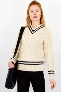 Polo Ralph Lauren Ecru Wool Knitted Sweater / Designer size: S - Fit: True to size