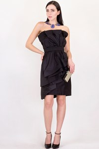 Donna Karan Black Silk Ruffled Dress / Size: ? - Fit: S