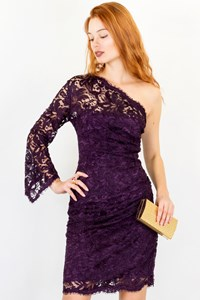 Emilio Pucci Purple One Shoulder Lace Dress / Size: 44 IT - Fit: XS / S