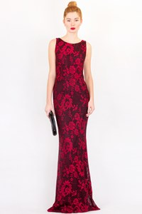 alice + olivia Red - Black Lace Evening Dress / Size: ? - Fit: XS / S