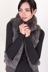 Xin Meng Fur Grey Rabbit and Fox Fur Vest / Size: ? - Fit: S