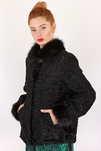 Fur Black Astrakhan - Mink Fur Coat / Size: ? - Fit: M