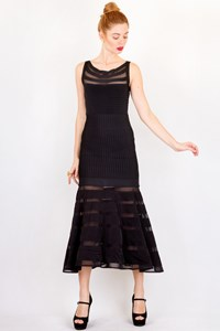 Badila Black Midi Elasticated Dress with Mesh / Size: L - Fit: S / M