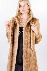 No Brand Beige Long Mink Fur Coat/ Size: ? - Fit: S / M