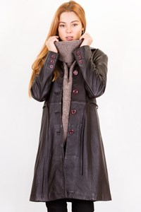 Artisti Italiani Brown Leather Midi Coat / Size: XS - Fit: True to size