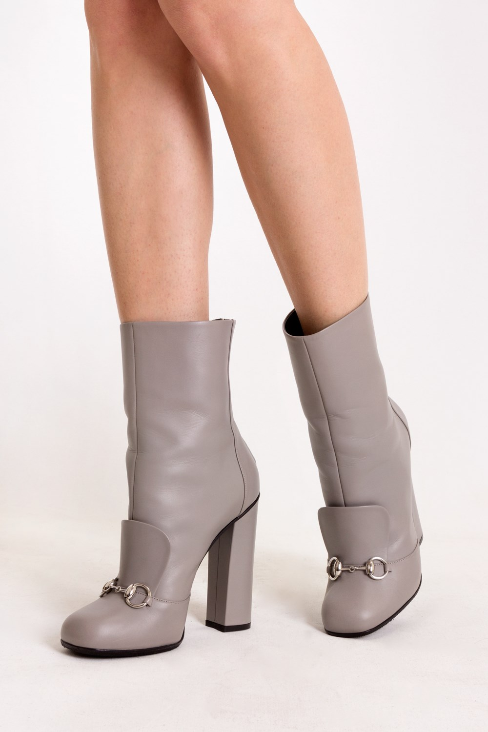 86591f7f1 Grey Lillian Horsebit Leather Ankle Boots / Size: 39 - Fit: True to size,  Ankle boots, Boots, Shoes, Starbags Products, Starbags.gr