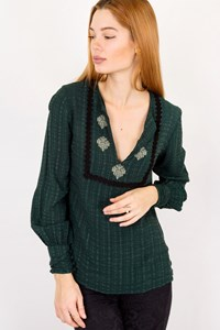 Zeus + Dione Evdokia Forest Green Silk Blouse / Size: 36 - Fit: XS / S