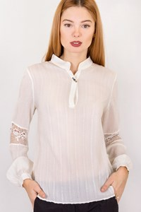 Zeus + Dione Iokaste White Silk Blouse with Knit / Size: 38 - Fit: XS / S