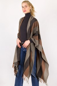 In-wear Tri-Color Wool Felt Poncho / Size: ? - Fit: M / L