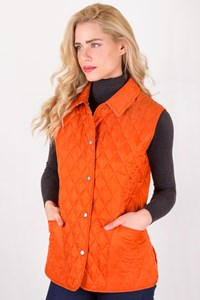 Burberry London Burnt Orange Quilted Vest / Size: L - Fit: M