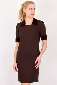 Les Copains Brown Woolen Dress with Velvet Details / Size: 42 IT - Fit: S