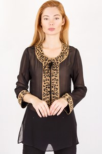 No Brand Black Silk Sequin Embellished Blouse / Size: Μ - Fit: S
