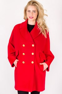 Les Copains Red Wool Coat with Golden Buttons / Size: ? - Fit: M