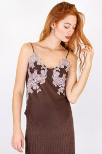 Chloé Brown - Ecru Embroidered Cami Top / Size: S - Fit: XS