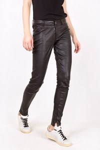 ArmA Collection Black Stretch Leather Pants / Size: 10 UK - Fit: S