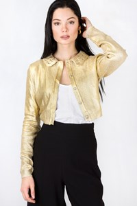 Moschino Gold Metallic Knitted Cardigan - Bolero / Size: 42 IT - Fit: XS