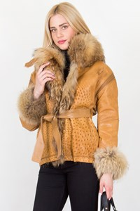 Marie Martine Tan Ostrich Leather Jacket / Fit: S