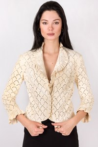 Carlos Miele Ecru Laser-Cut Leather Jacket / Size: 36 - Fit: S