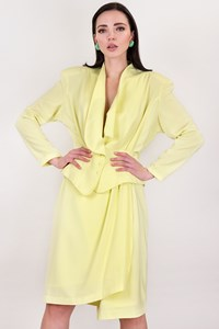 Thierry Mugler Vintage Light Yellow Jacket and Skirt Suit / Size: 42 IT - Fit: S