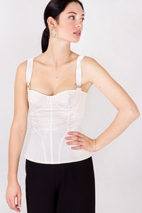 Dolce & Gabbana White Cotton Corset Top / Size: 38 IT - Fit: XS