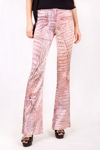 Roberto Cavalli Multicoloured Python Print Silk Pants / Size: 38 IT - Fit: XS