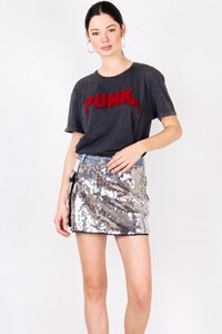 Bruba for Levi's Silver Sequin Mini Skirt / Size: 44 IT - Fit: XS