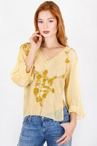 Easton Pearson Yellow and Mustard Knitted Blouse / Μέγεθος: 10 - Εφαρμογή: XS / S