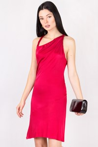 Alexander McQueen Fuschia Jersey Open-Back Dress / Size: 40 IT - Fit: XS