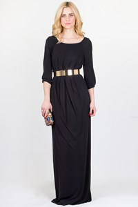 Max Azria Black Silk Maxi Dress / Fit: M/L