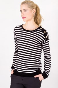 Sonia Rykiel Black and White Striped Blouse with Velvet Details / Designer size: S - Fit: M
