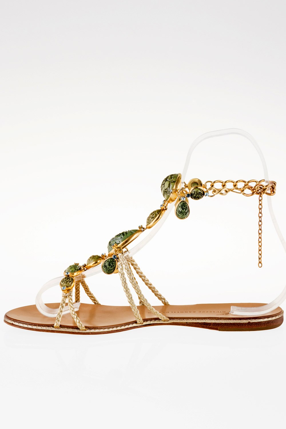 43bfa1d41602f Gold Strappy Sandals with Green Gemstones   Size  37.5 - Fit  38 ...